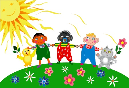 Children from different countries and animals hold hands Stock Vector - 13709550