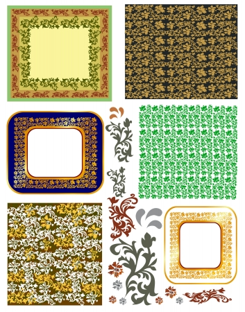 vector vintage frames and pattern