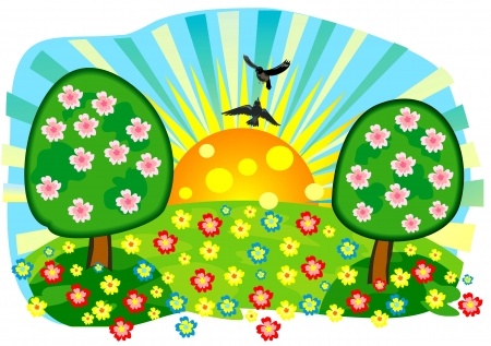 bright summer meadow Stock Vector - 13709552
