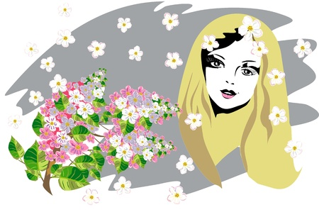 beautiful womans face with flowers Vector