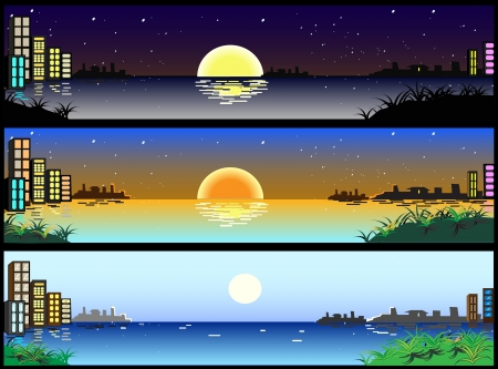 beautiful horizontal city banners Illustration