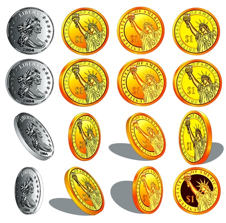 wage: realistic vector gold and silver coins