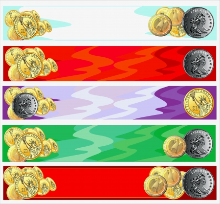 horizontal abstract banners with gold coins Illustration