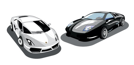black and white isolated cars Vector