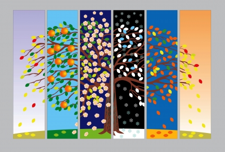 banners with the tree in different seasons Vector