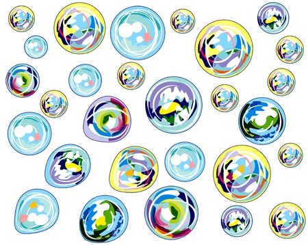 multi-colored bubbles background Illustration