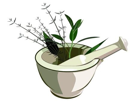 mortero: Médico de mortero y majadero con hierbas Vectores