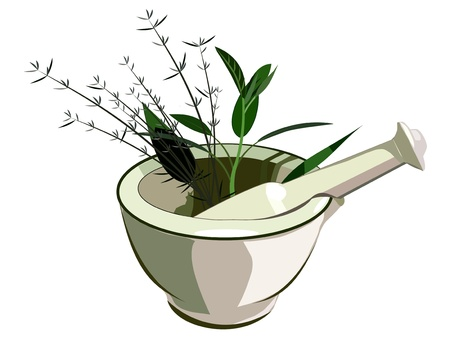 chinese medicine: Medical mortar and pestle with herbs Illustration
