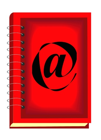 isolated red notebook with internet symbol