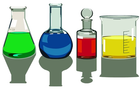 reagents: vector isolated laboratory glassware Illustration