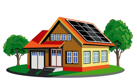 energy conservation: Ecology house with solar cell Illustration