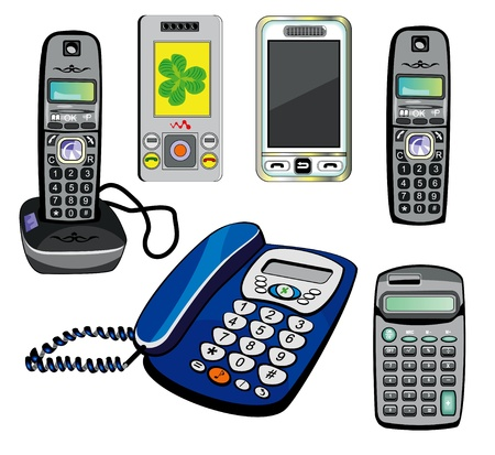 flip phone: Isolated phones and calculator Illustration