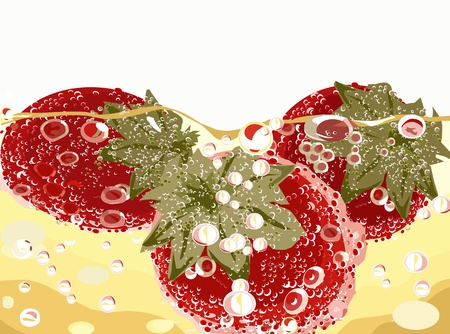 strawberries in champagne background Stock Vector - 14308823