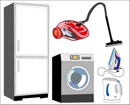 vector isolated household appliances