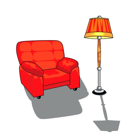 vector isolated chair and standard lamp