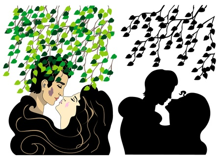 two lovers kissing under tree Vector
