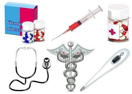 Isolated medical objects and symbols Illustration