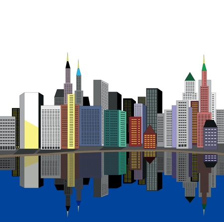 city on river Stock Vector - 14397815