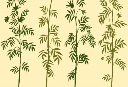green bamboo silhouettes on brown Vector