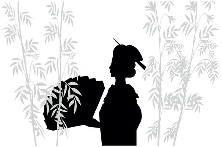 silhouette of japanese woman with fan Vector