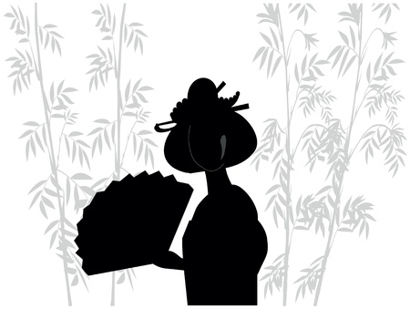 silhouette of japanese woman in bamboo