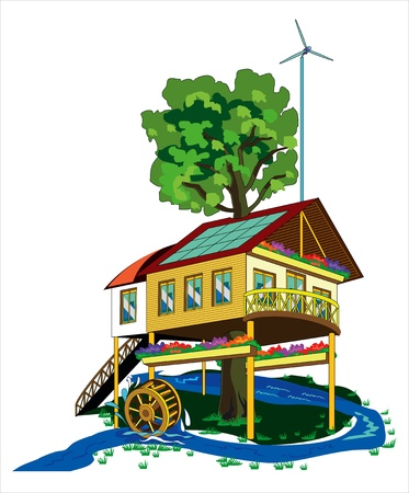 house with alternative energy sources Vector