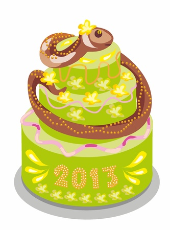chocolate cake with a snake Stock Vector - 14753710