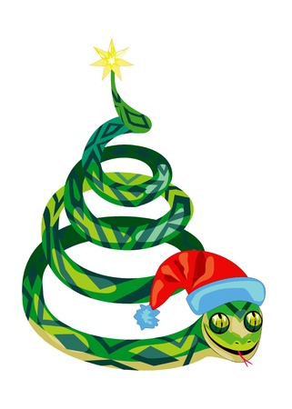snake in the form of Christmas tree Vector