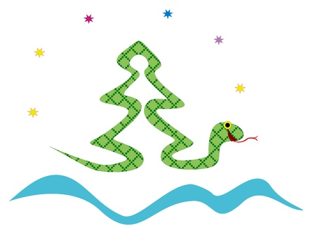 Christmas tree made of snake Illustration