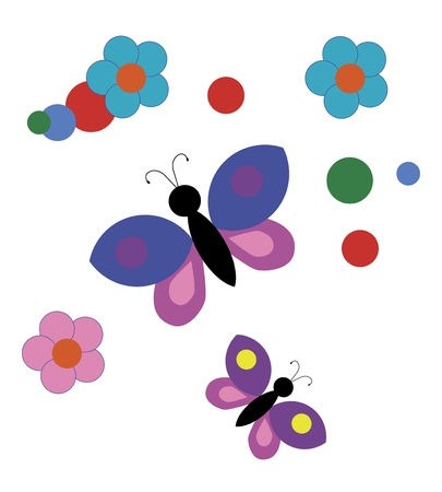Bright background with butterflies and flowers