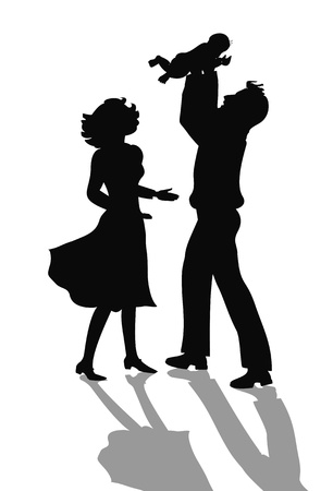 mom son: happy family silhouette