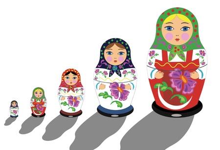 muñecas rusas: Rusa matrioshka Vectores