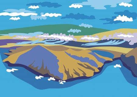 beautiful landscape with sea and mountain Vector