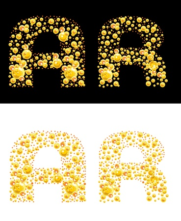 original letters (A and R) of bubbles