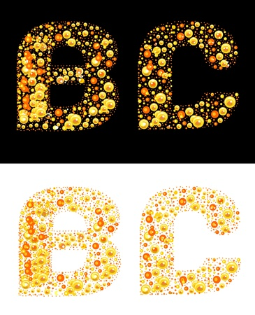 original letters (B and C) of bubbles Illustration