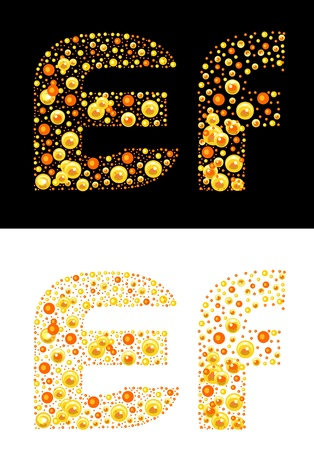 original letters (E and F) of bubbles Vector