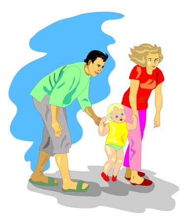 Mom and dad walking with a small child Illustration