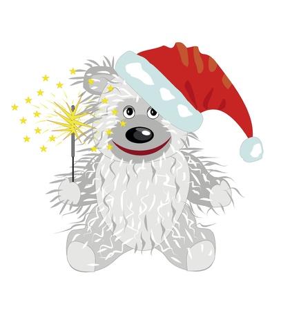 White teddy bear in a Santa Claus hat Stock Vector - 15477556