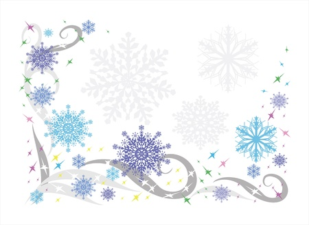 Beautiful winter background with snowflakes and patterns Illustration