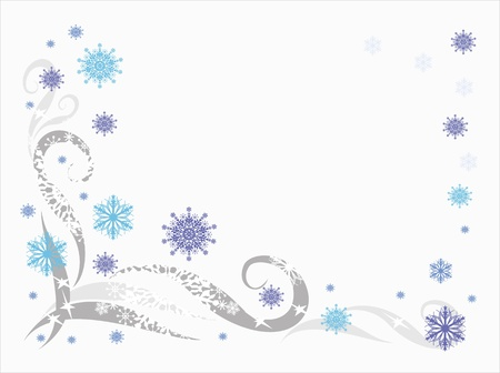 Winter background with snowflakes and patterns