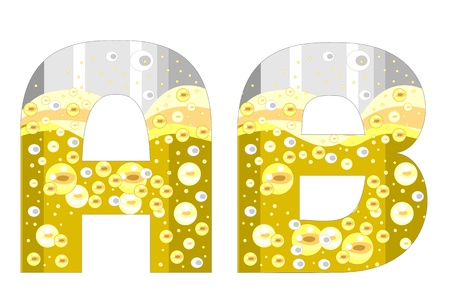 alphabet with bubbles of champagne (A-B) Illustration