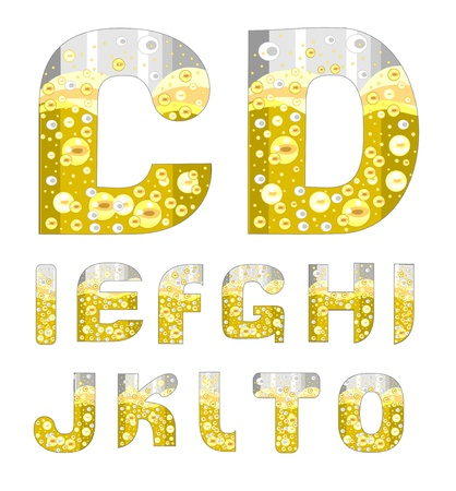 alphabet with bubbles of champagne (C-O) Stock Vector - 16259515