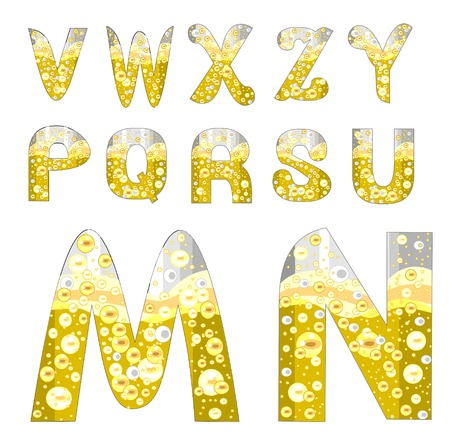 alphabet with bubbles of champagne (M-U)