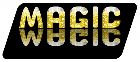 Logo in the form of a beautiful text with bright bubbles Illustration