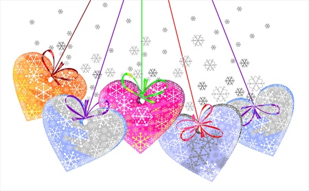 Beautiful background with colorful hearts Illustration