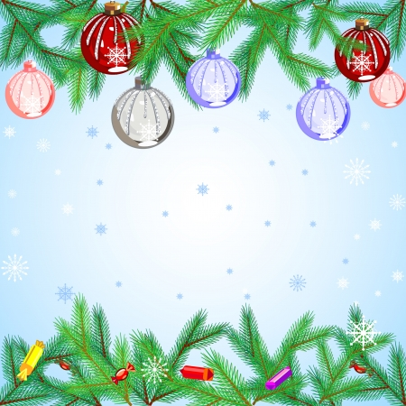 Beautiful Christmas background with tree and balls Vector