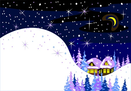 snowy mountains: beautiful winter rural landscape Illustration