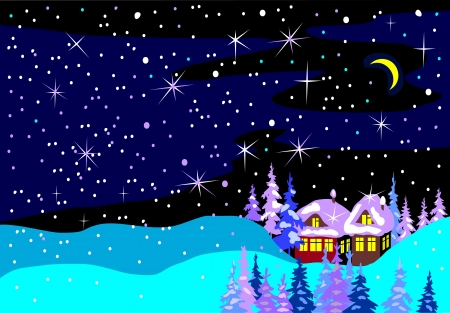 blue winter landscape Vector