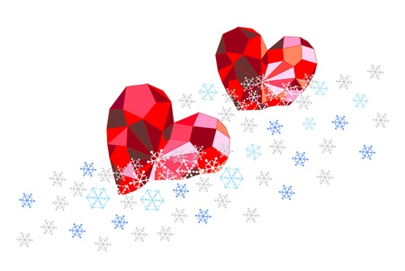 Ruby pink hearts in the snow