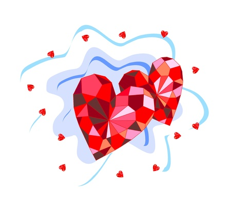 Beautiful background with ruby hearts Stock Vector - 16692777
